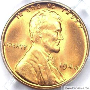 1940 P US one cent (penny) value, Lincoln wheat