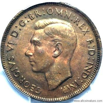 1941 K.G Australian penny obverse