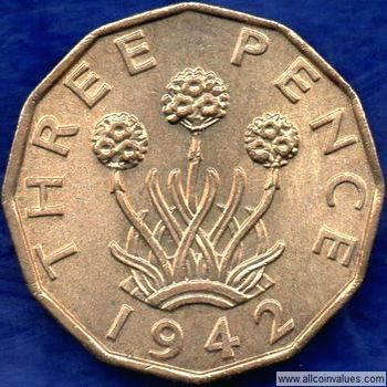1942 UK threepence value, George VI, brass