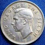 1950 far diamond New Zealand half crown