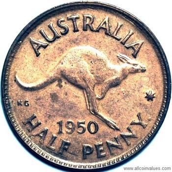1950 Australian halfpenny value