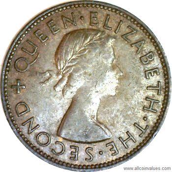 Queen Elizabeth II New Zealand 1954-1 Penny Bronze Coin Tui Bird