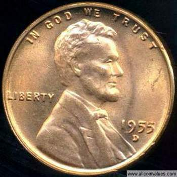 1955 D Us One Cent Penny Value Lincoln Wheat