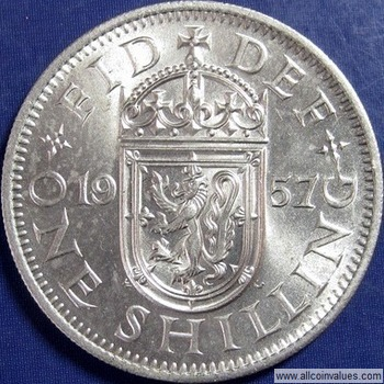 Great Britain 1962-1 Shilling Copper-Nickel Coin Scottish Elizabeth II Q