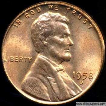 1958 D US one cent (penny) value, Lincoln wheat