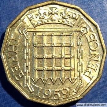 1959 Uk Threepence Value Elizabeth Ii