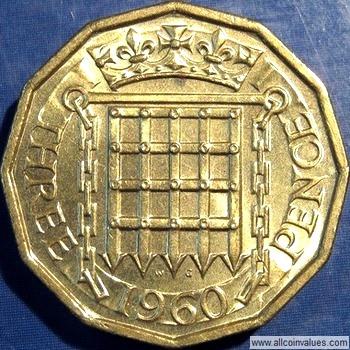 1960 Uk Threepence Value Elizabeth Ii