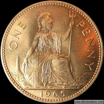 1965 UK penny value, Elizabeth II