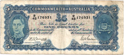 Armitage / McFarlane Australian five pound banknote values, FYOI 1941
