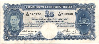 Coombs / Watt Australian five pound banknote values, FYOI 1949