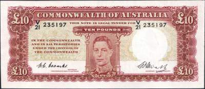 Australian ten pound banknote values