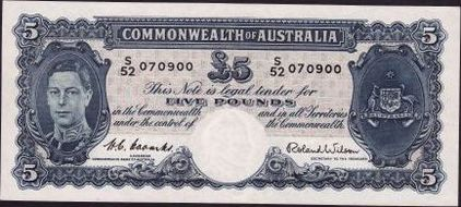 Coombs / Wilson Australian five pound banknote values, FYOI 1952