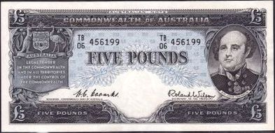 Coombs / Wilson Australian five pound banknote values, FYOI 1954
