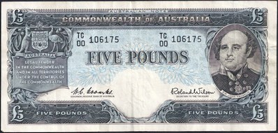 Coombs / Wilson Australian five pound banknote values, FYOI 1960