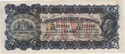 Riddle / Heathershaw Australian five pound banknote values, FYOI 1927