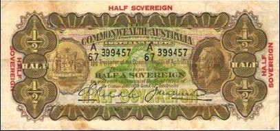 Australian Riddle / Heathershaw half-sovereign banknote values, FYOI