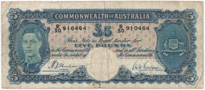 Sheehan / McFarlane Australian five pound banknote values, FYOI 1939