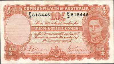 Australian ten shilling banknote values